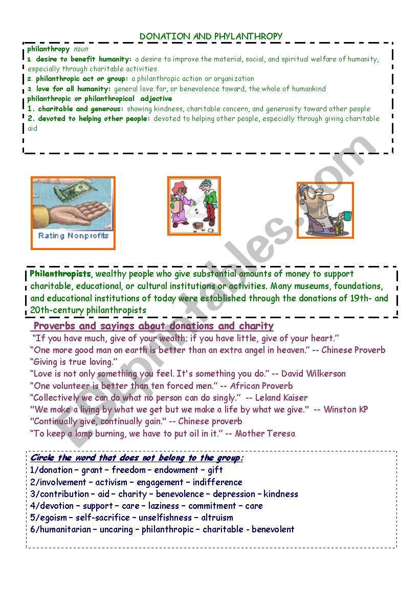 DONATION AND PHILANTHROPY worksheet