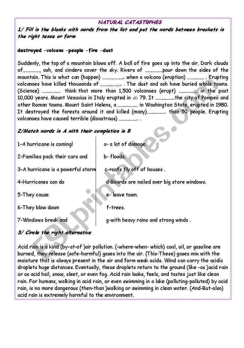 NATURAL CATASTROPHES worksheet