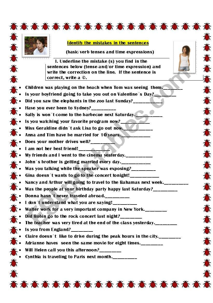 identify the mistakes in the sentences esl worksheet by kiaras. Black Bedroom Furniture Sets. Home Design Ideas