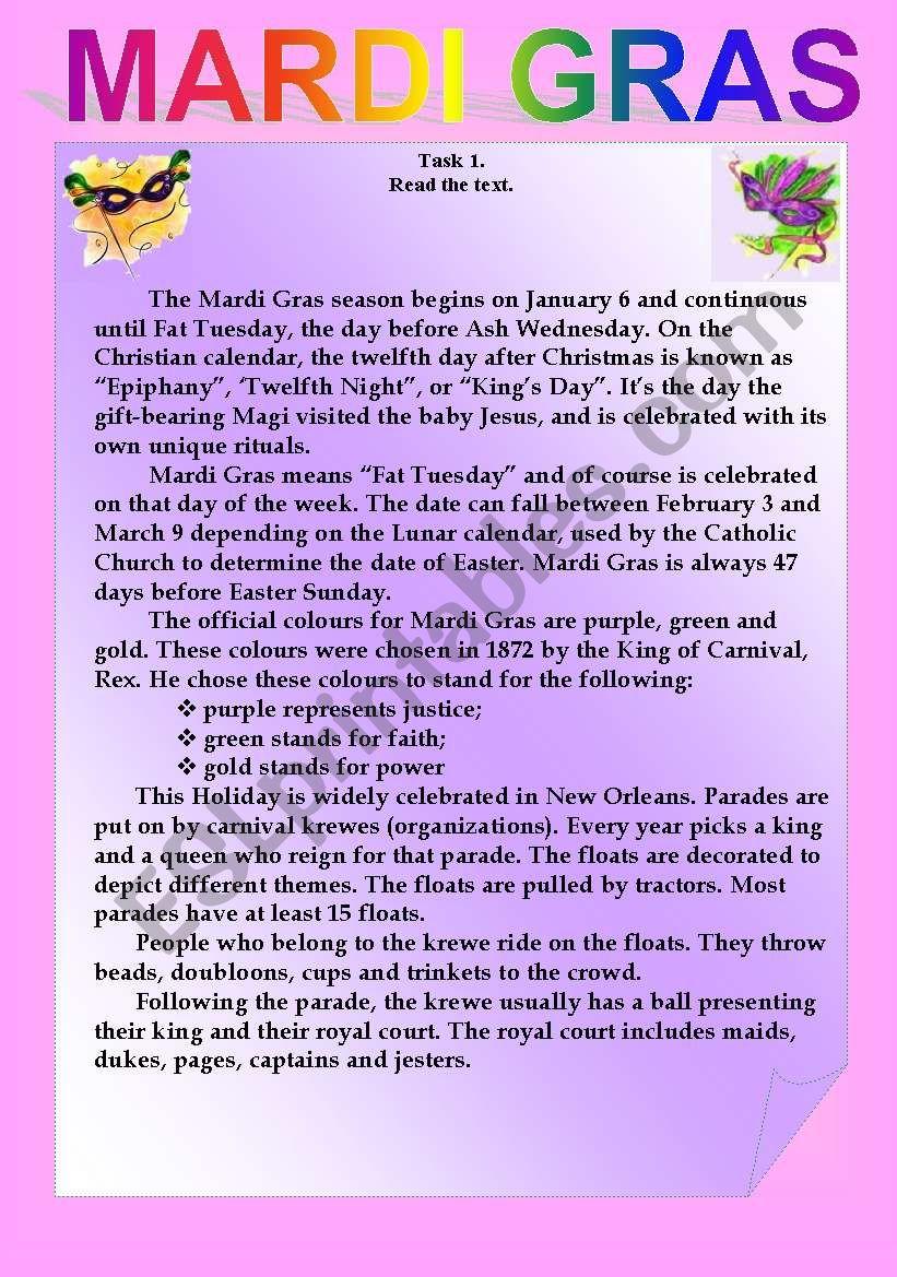 Mardi Gras worksheet