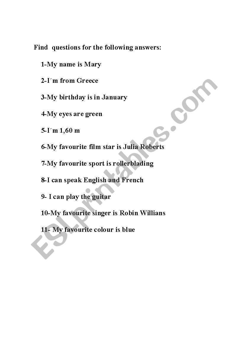 English worksheets: Write questions for the following answers