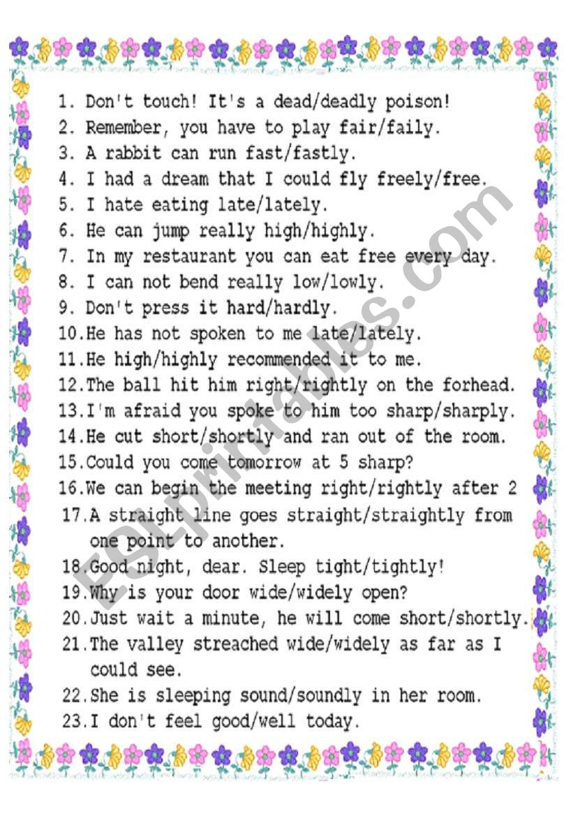 adverb or adjective? worksheet