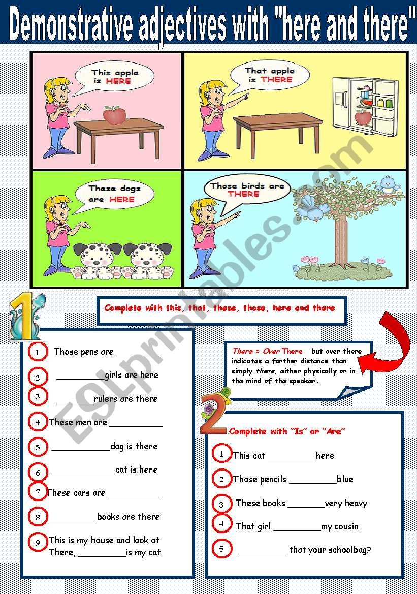 Demonstrative adjectives with here and there