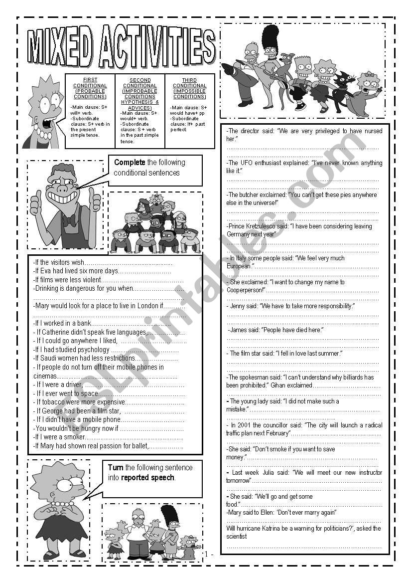 6 PAGES!!!!!!MIXED ACTIVITIES: CONDITIONALS,  WORD FORMATION, REPORTED SPEECH, PASSIVE VOICE, REPHRASING, PREPOSITION EXERCISES, GIVE SYNONYMS AND OPPOSITES, REORDER WORDS TO FORM SENTENCES, FILL IN THE GAPS WITH THE MOST APPROPRIATE VERB TENSE