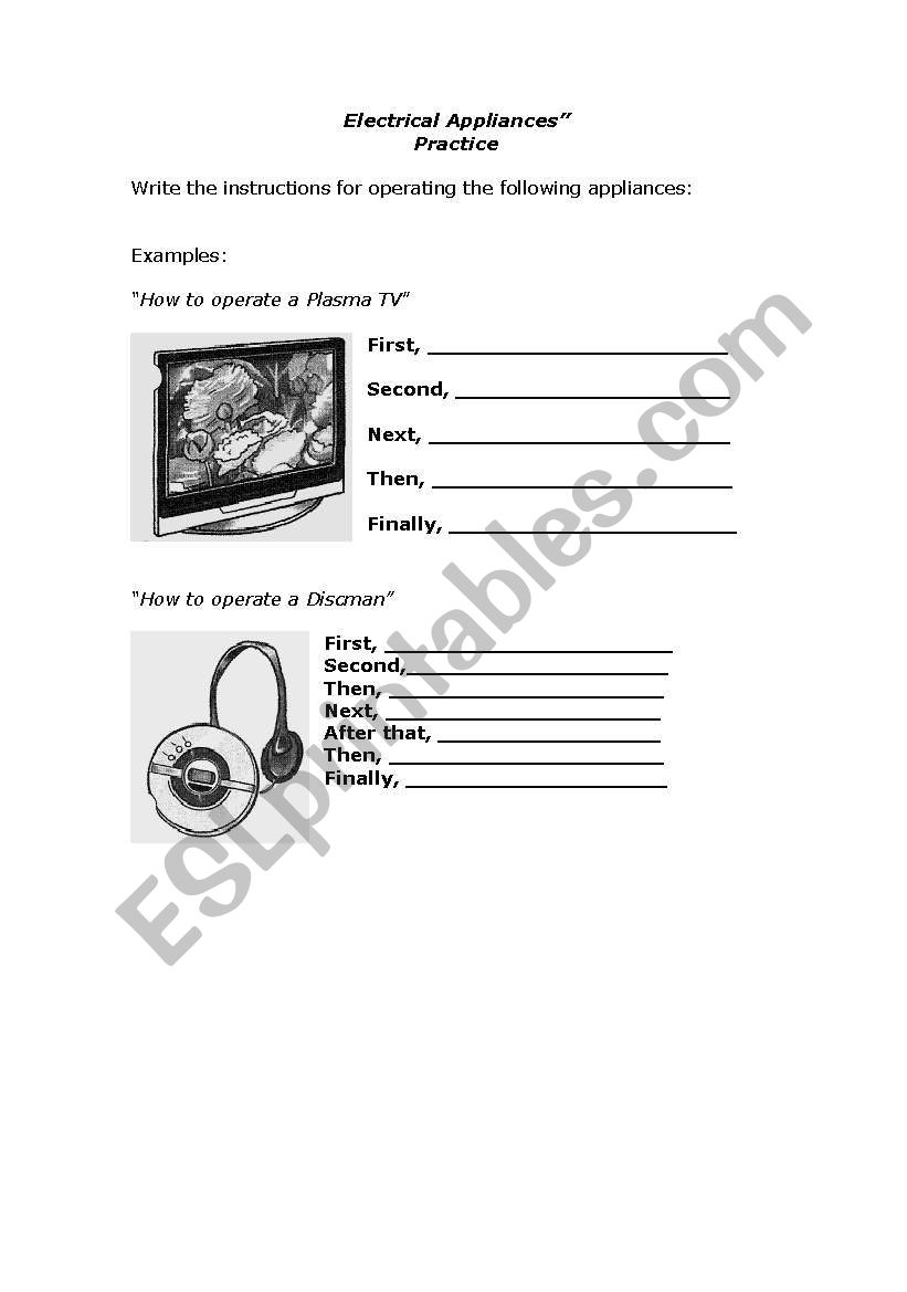 Electrical Appliances worksheet