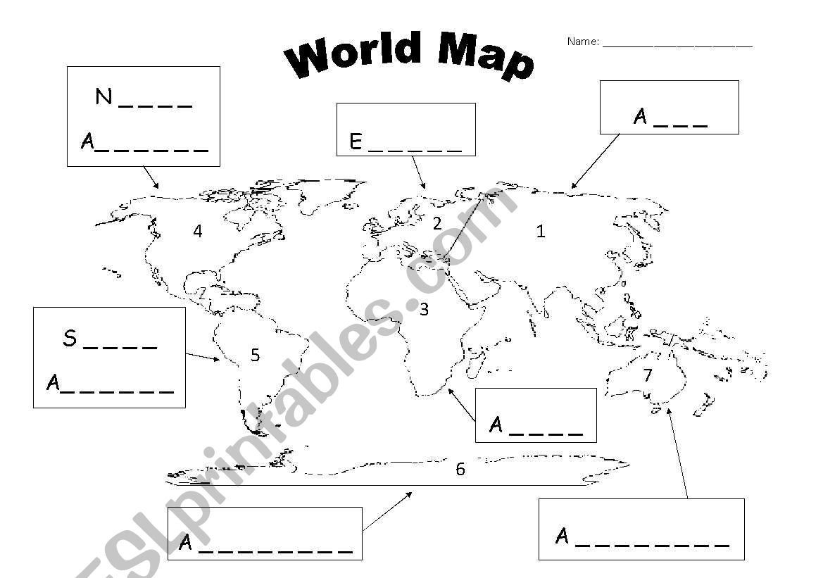 English worksheets world map continents world map continents worksheet gumiabroncs Choice Image