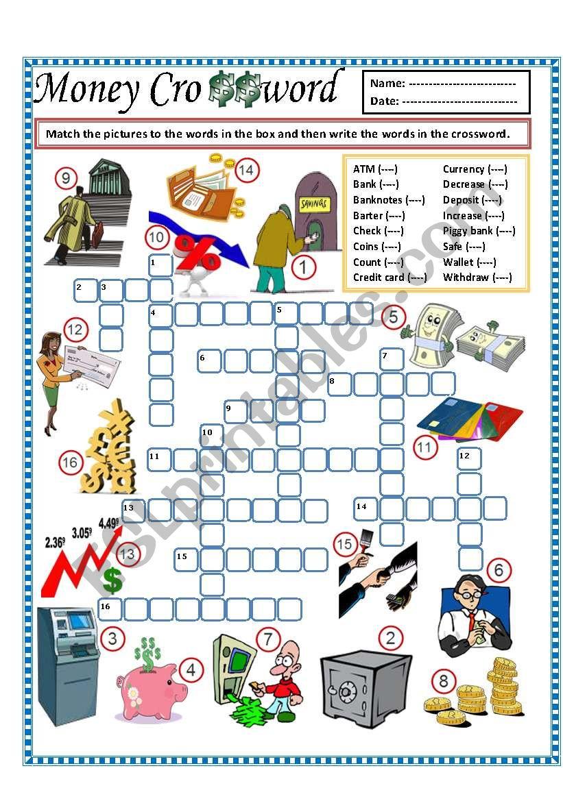 Money Crossword (part 3) worksheet