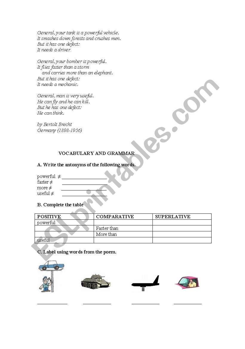 Brecht-Untitled Poem worksheet