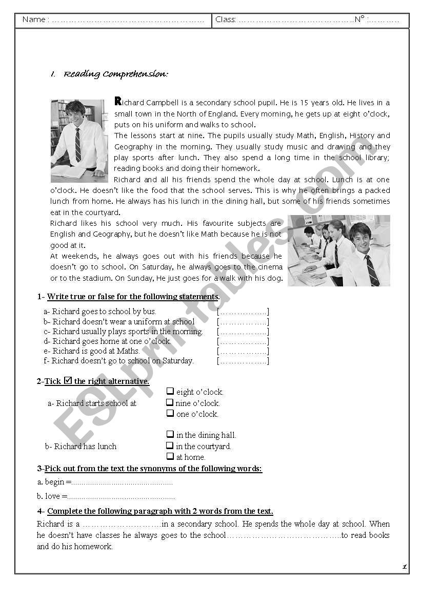 varied English test worksheet