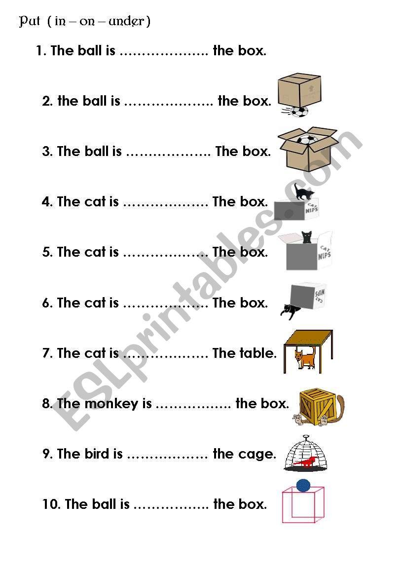 preposition in on under worksheet