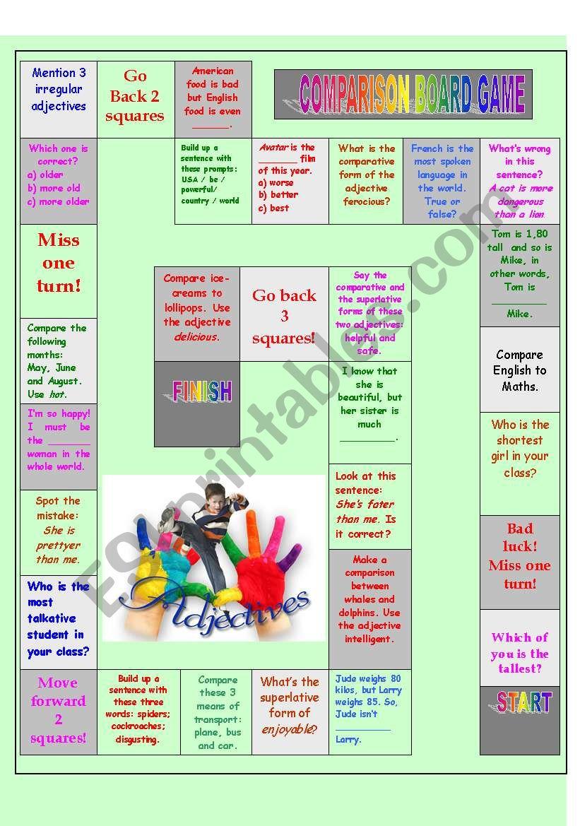 Comparison board game 1 worksheet