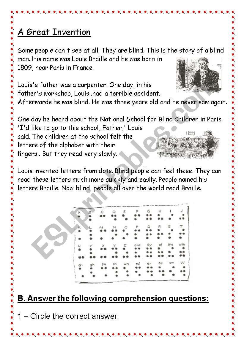 Louis Braille Esl Worksheet By Data