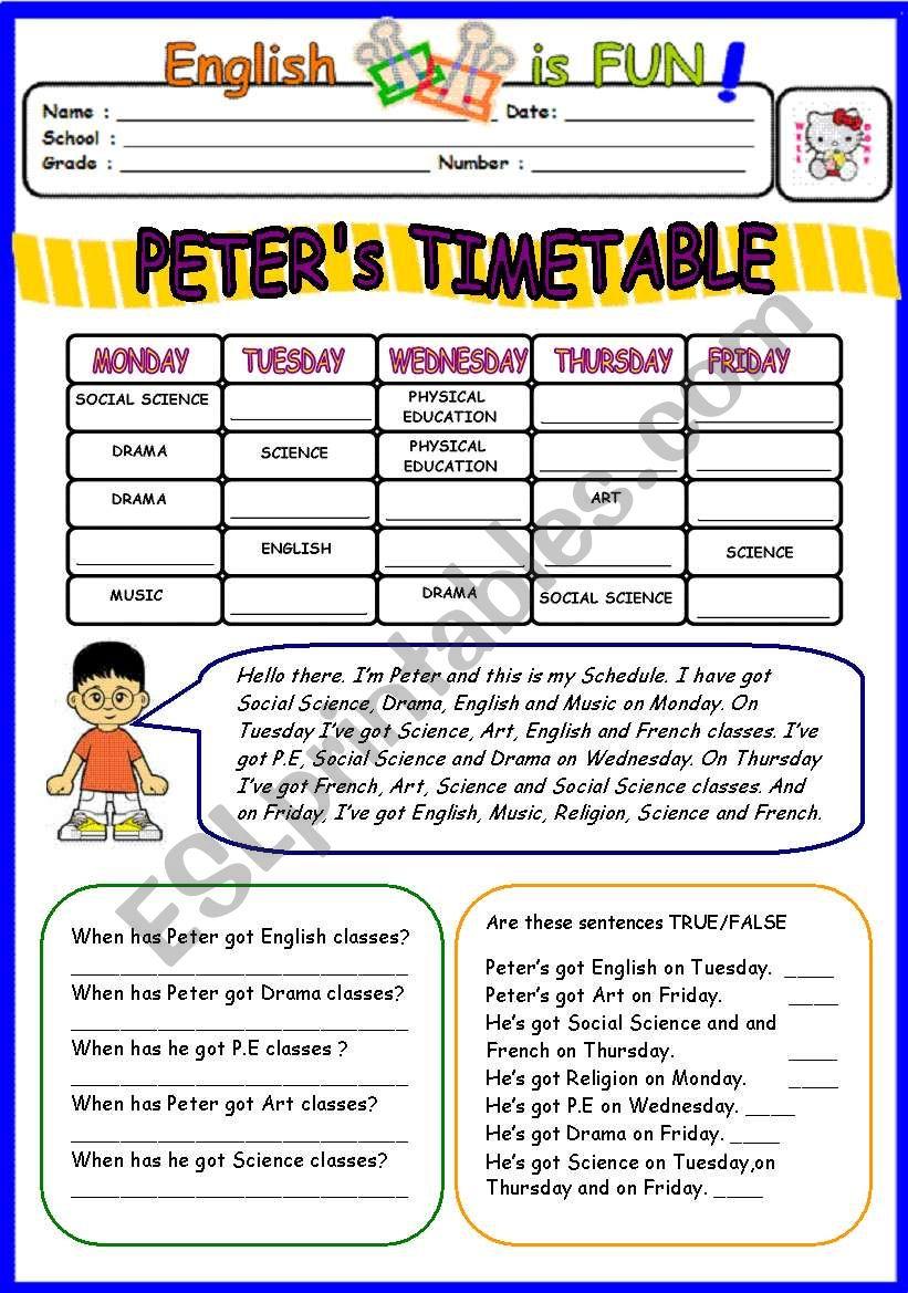 peters timetable worksheet