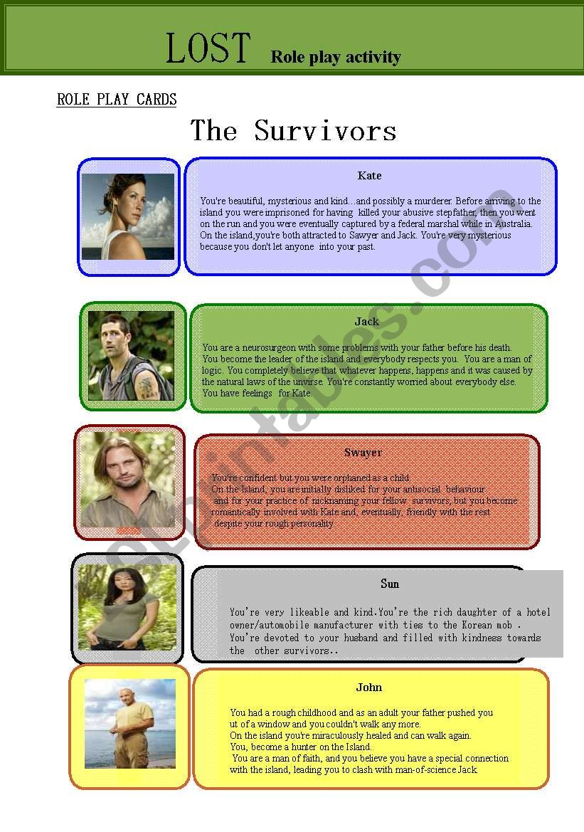 Lost- Role Play activity worksheet