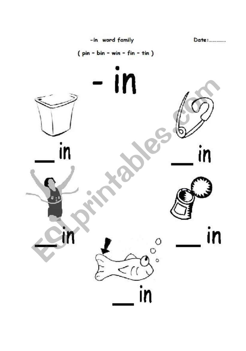 - English Worksheets: -in Word Family