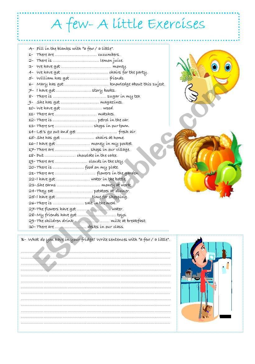 A few - A little worksheet