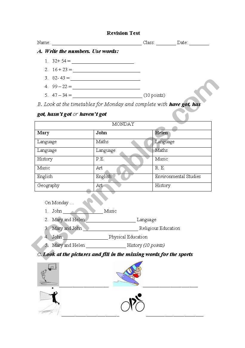 D class Revision Test worksheet