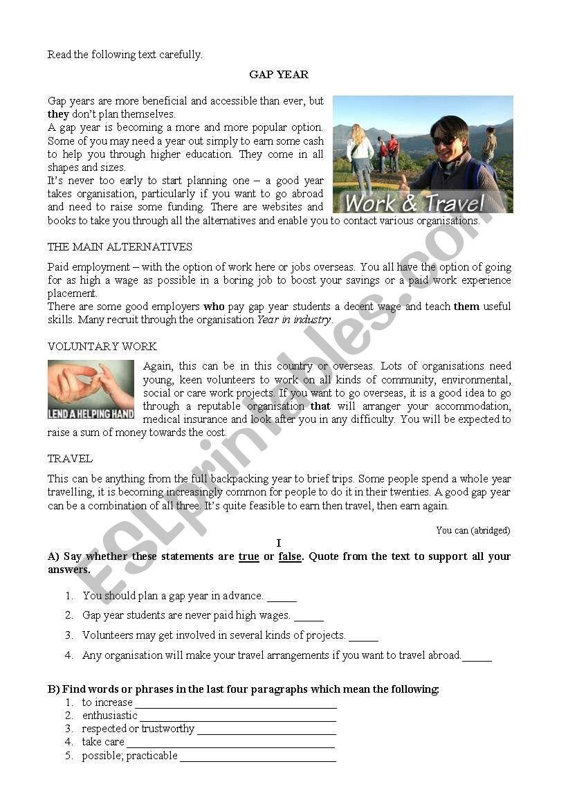 Gap Year - 10th test worksheet