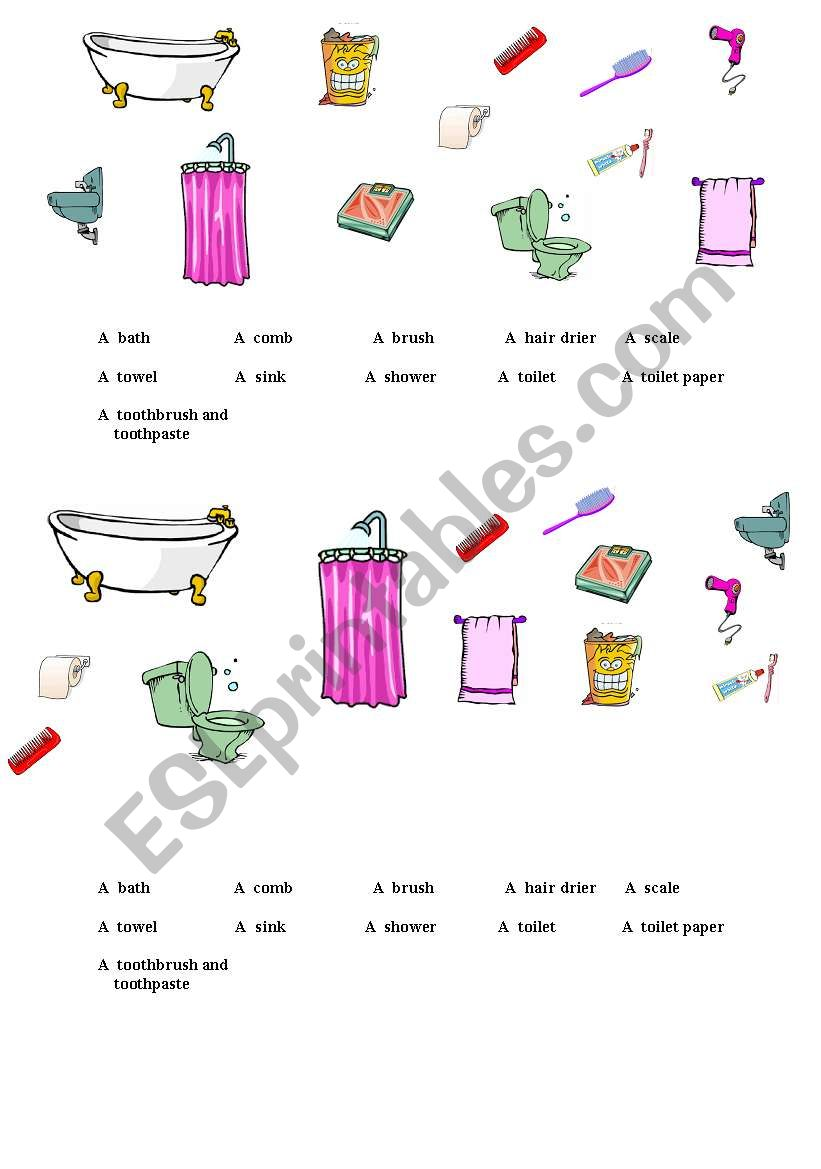 English Worksheets Bathroom Objects