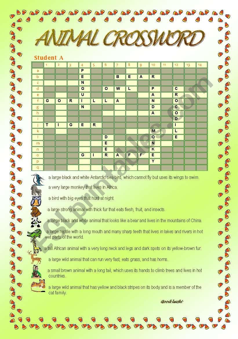 Animal Crossword worksheet