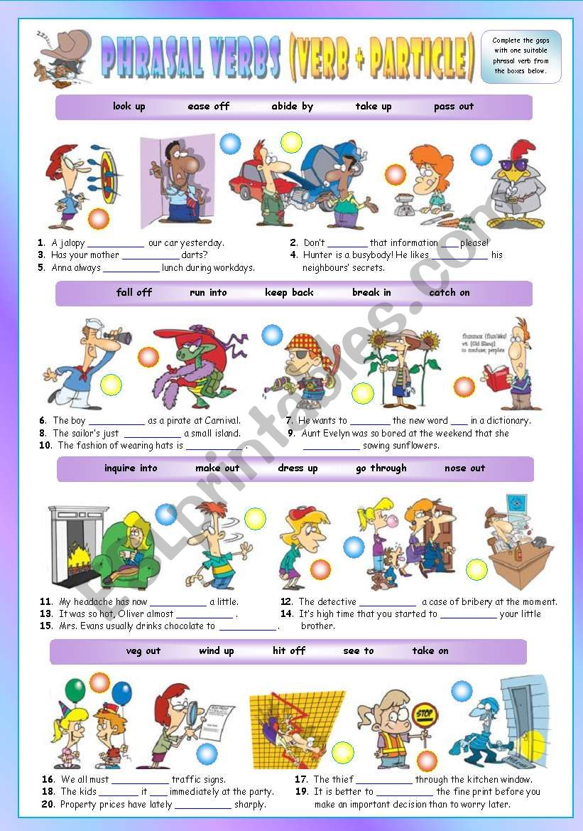 Phrasal Verbs (Ninth series). Exercises (Part 2/3). Key included!!!