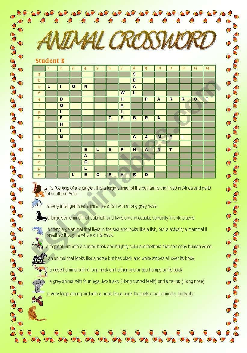 Animal Crossword 2 worksheet