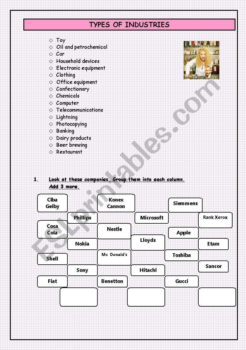 TYPES OF INDUSTRY worksheet