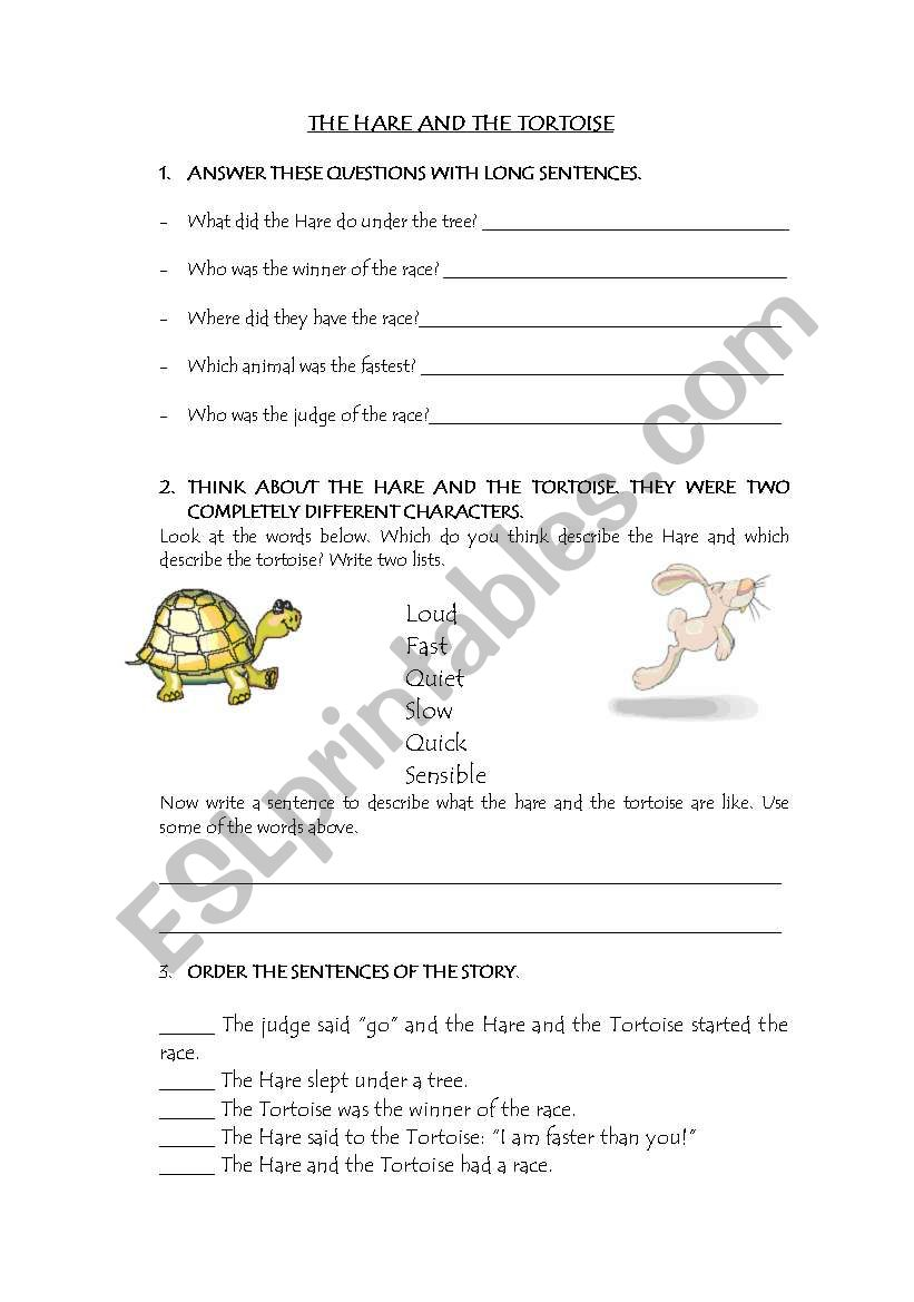 The Hare And The Tortoise Questions And Description Esl