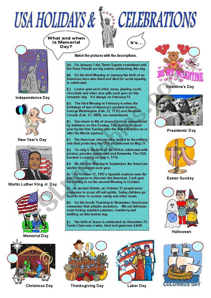 USA Holidays & Celebrations  worksheet