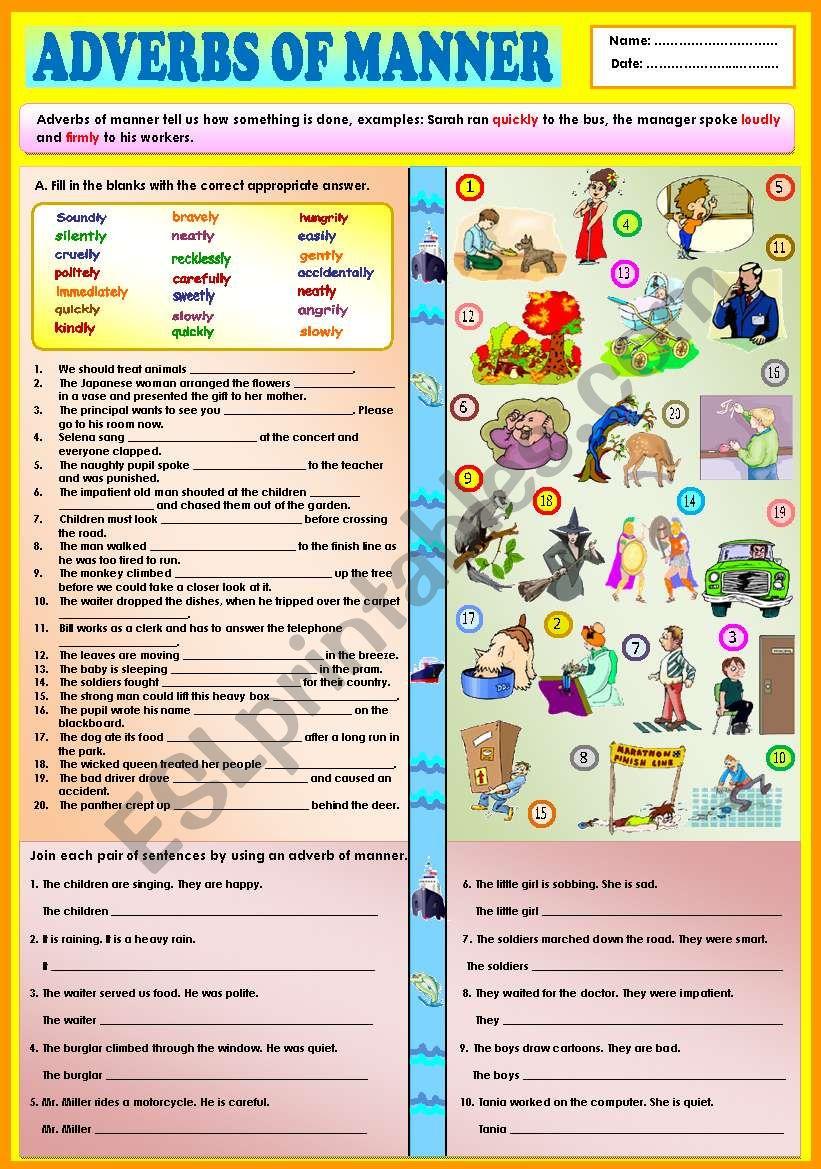 Adverbs of manner + KEY worksheet