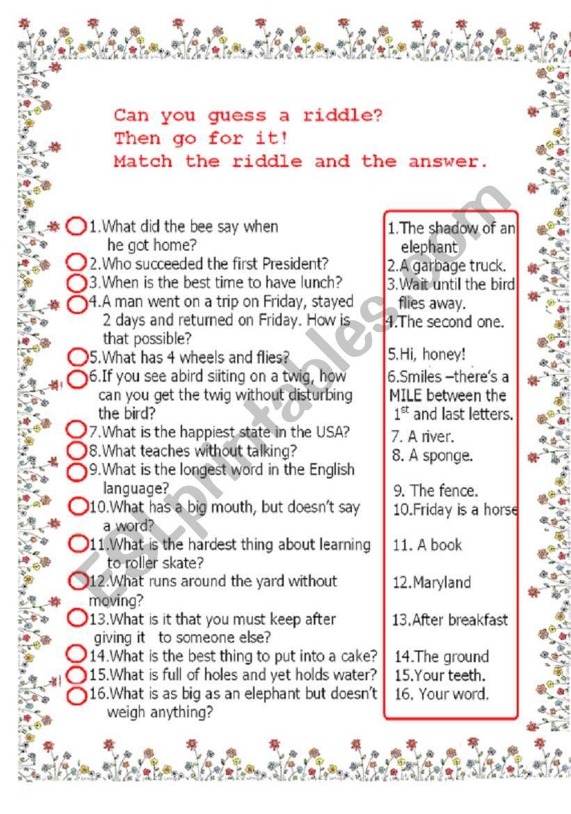 funny riddles matching task worksheet