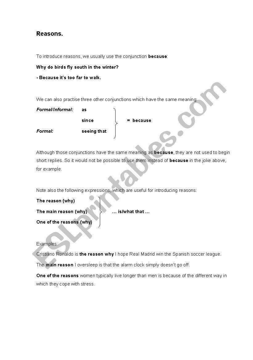 English worksheets: Reasons