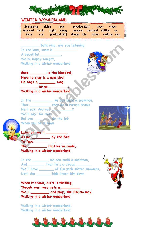 winter wonderland lyrics a gap filling