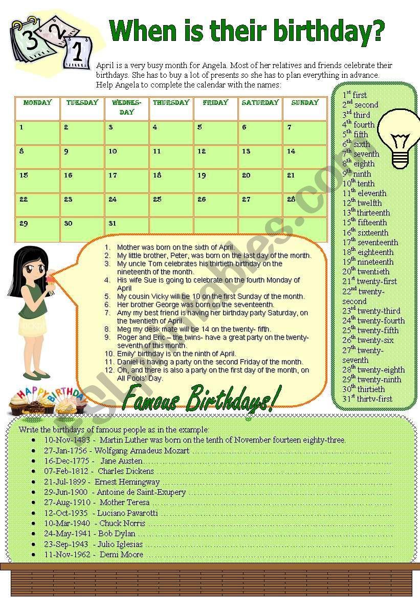 When is their birthday? worksheet