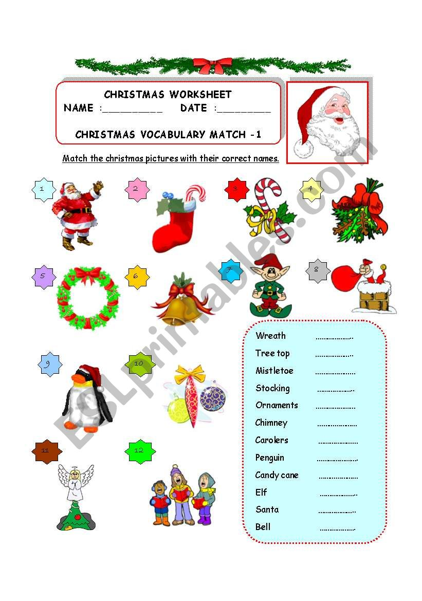 36994_1-Christmas_Vocabulary_Match_1 Xmas Worksheets Esl on for advanced, family tree, daily routine, first conditional, question words, high intermediate, for beginners weeks, phrasal verbs, free newcomer,
