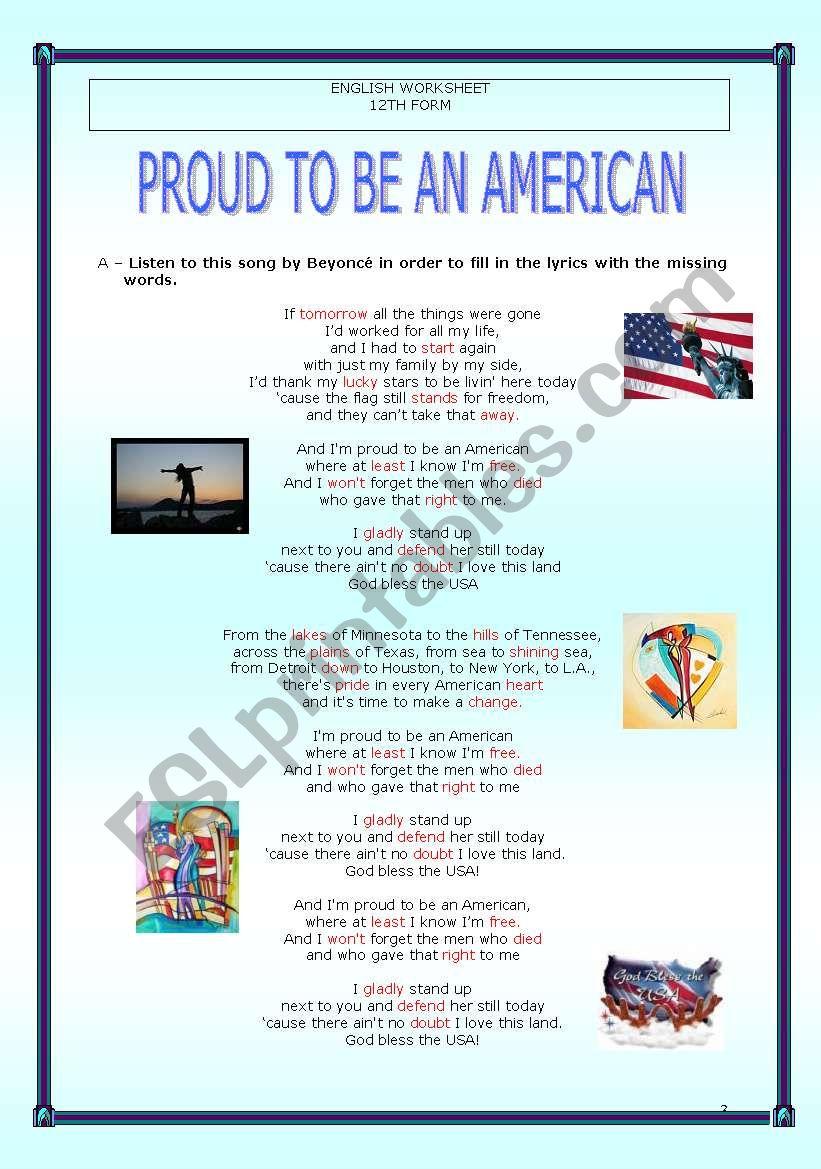 Proud to be an American - Beyoncé - ESL worksheet by Fallen Angel