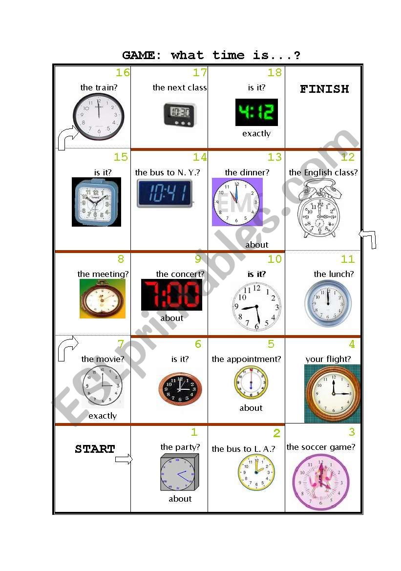 GAME: What time is it? worksheet
