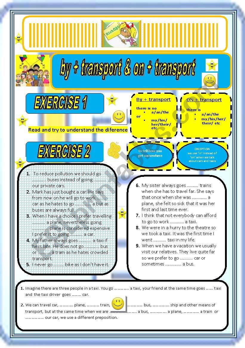 BY & ON in TRANSPORT - ESL worksheet by Richard K