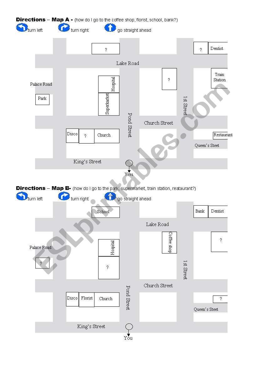 asking and giving directions esl worksheet by carobuffay. Black Bedroom Furniture Sets. Home Design Ideas
