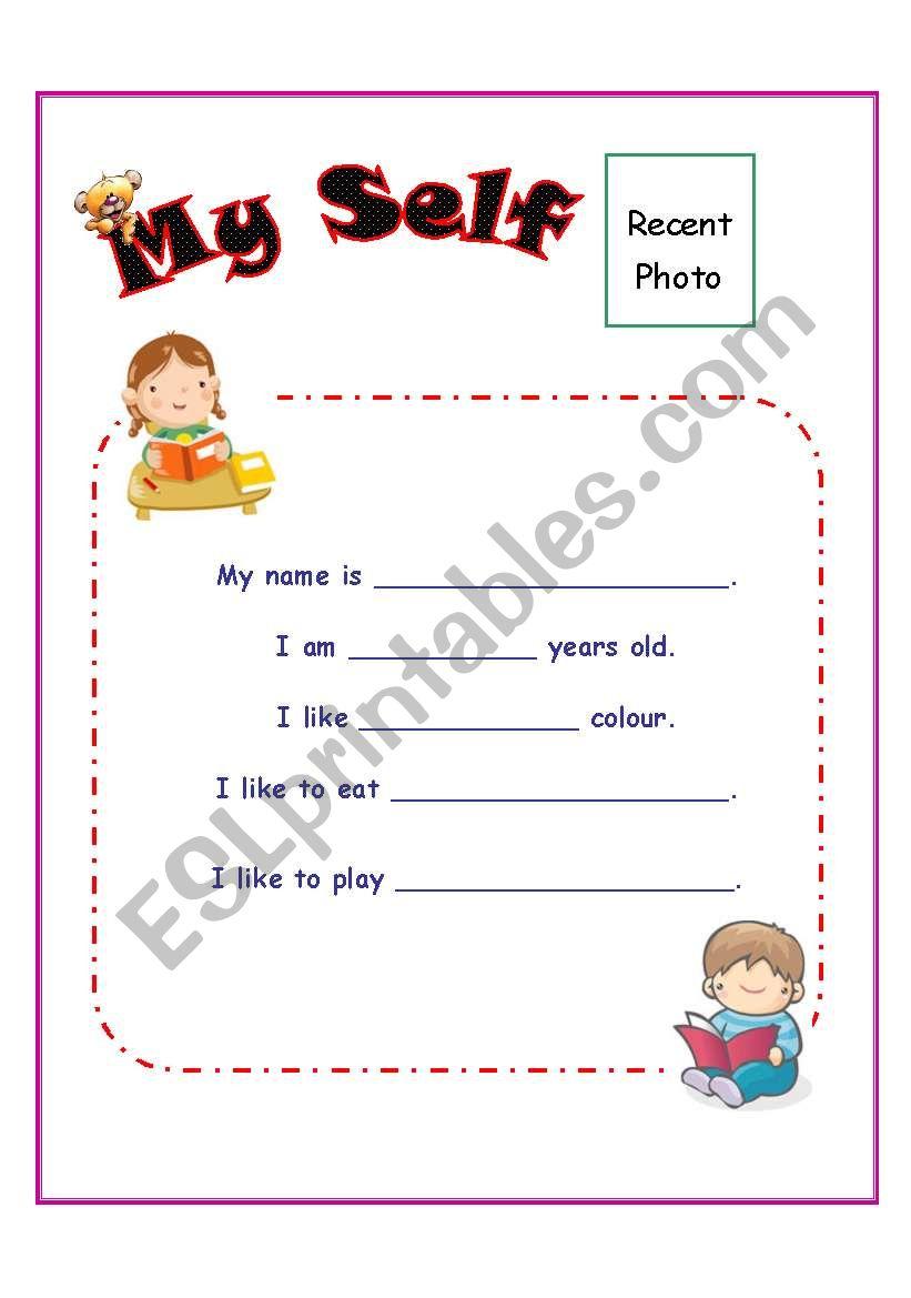 My Self worksheet