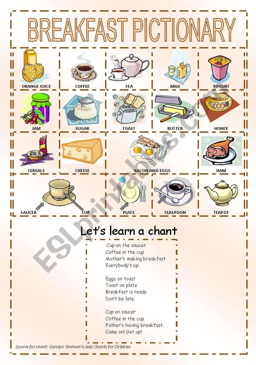 Breakfast pictionary worksheet