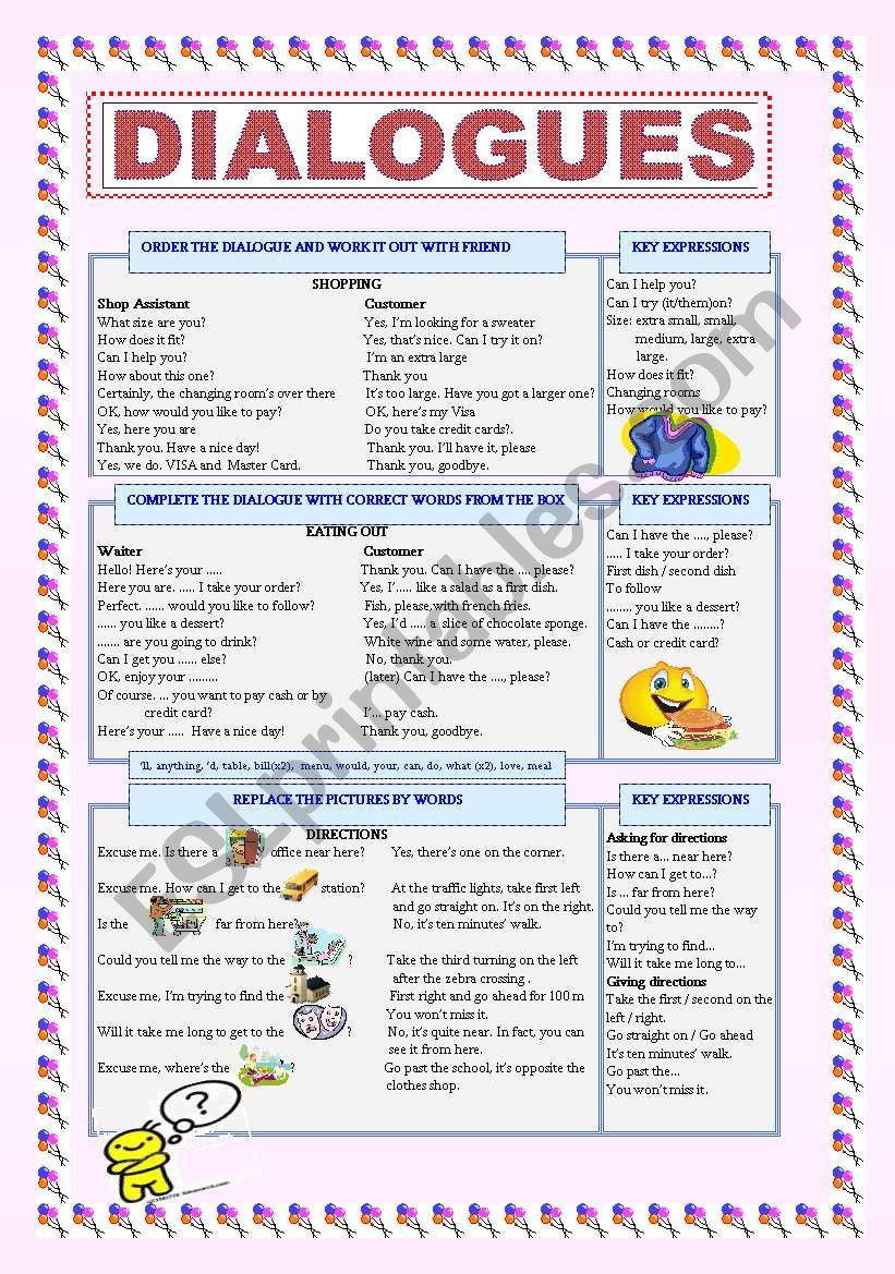 Dialogues, dialogues worksheet