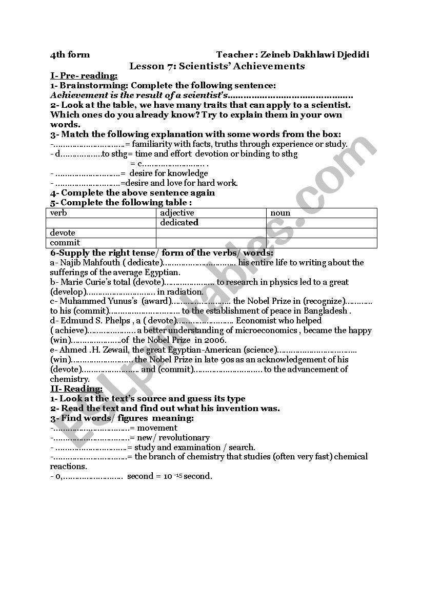 Scientists´ achievements - lesson 7 - 4th form