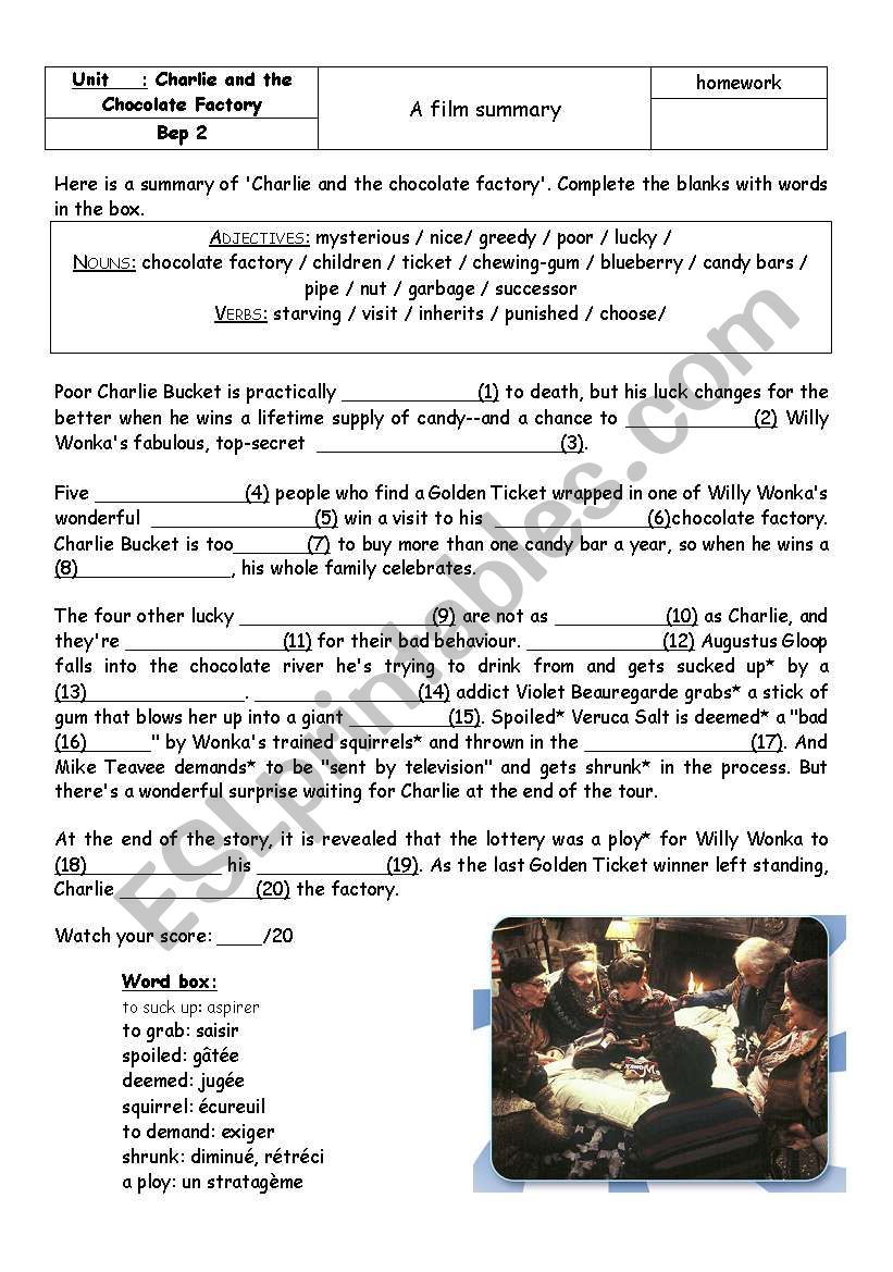 English Worksheets Charlie And The Chocolate Factory Summary