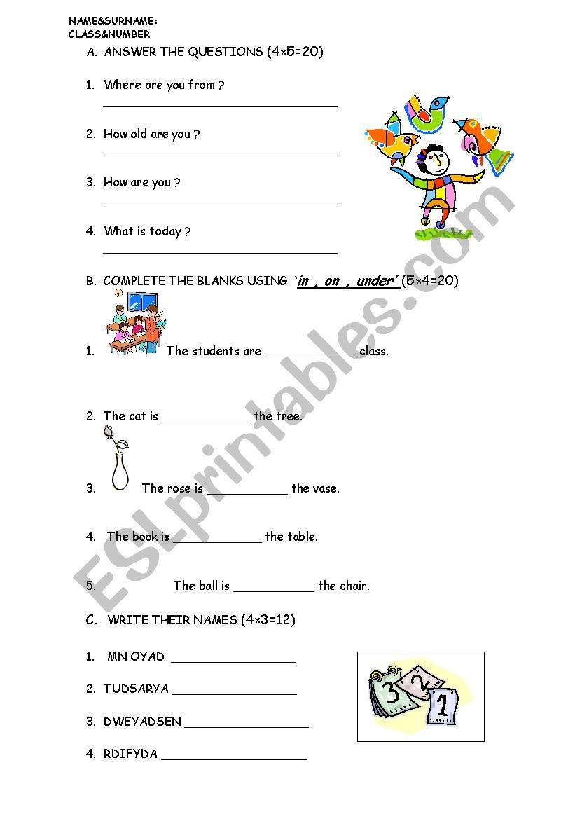quiz for young learners worksheet