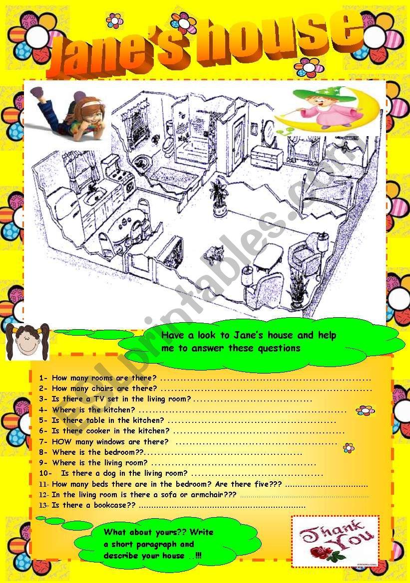 Describing a house  worksheet
