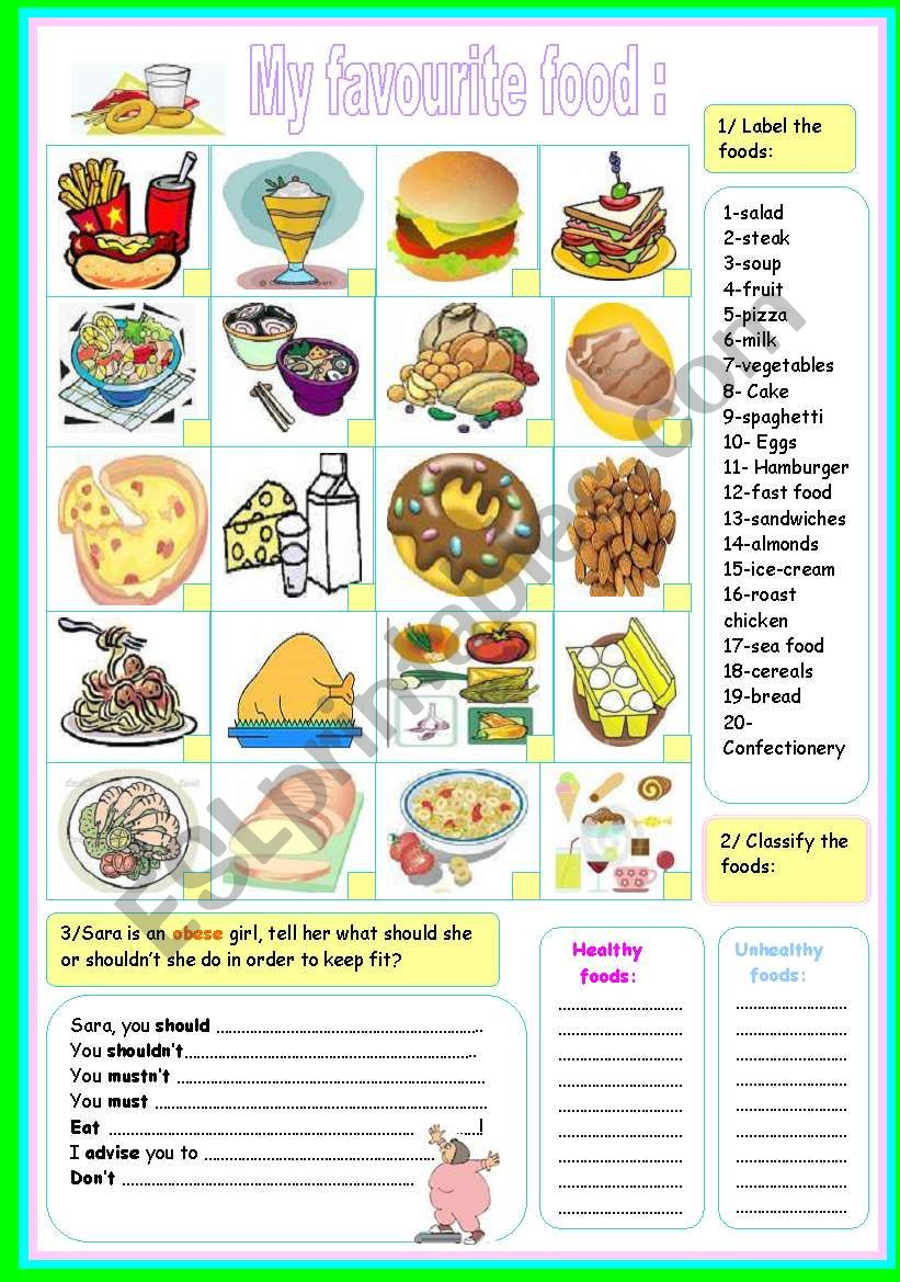 my favourite food! worksheet