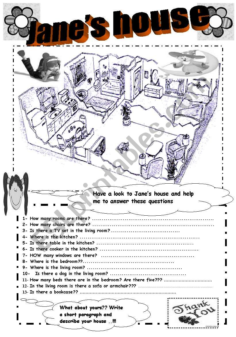 describing house  ( it is  W/ B printable )