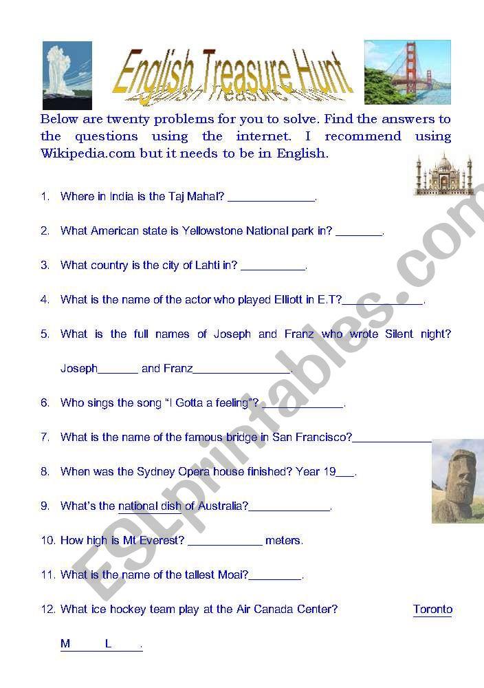 English treasure hunt worksheet