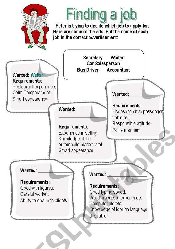 Finding a Job - ESL worksheet by cindydf
